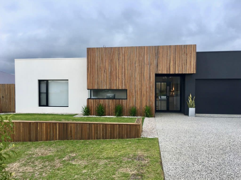 timber battens and render facade